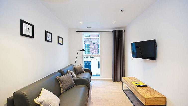 Cosy living room at Staycity Birmingham Newhall Square - Citybase Apartments