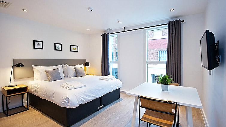 Studio living space at Staycity Birmingham Newhall Square - Citybase Apartments