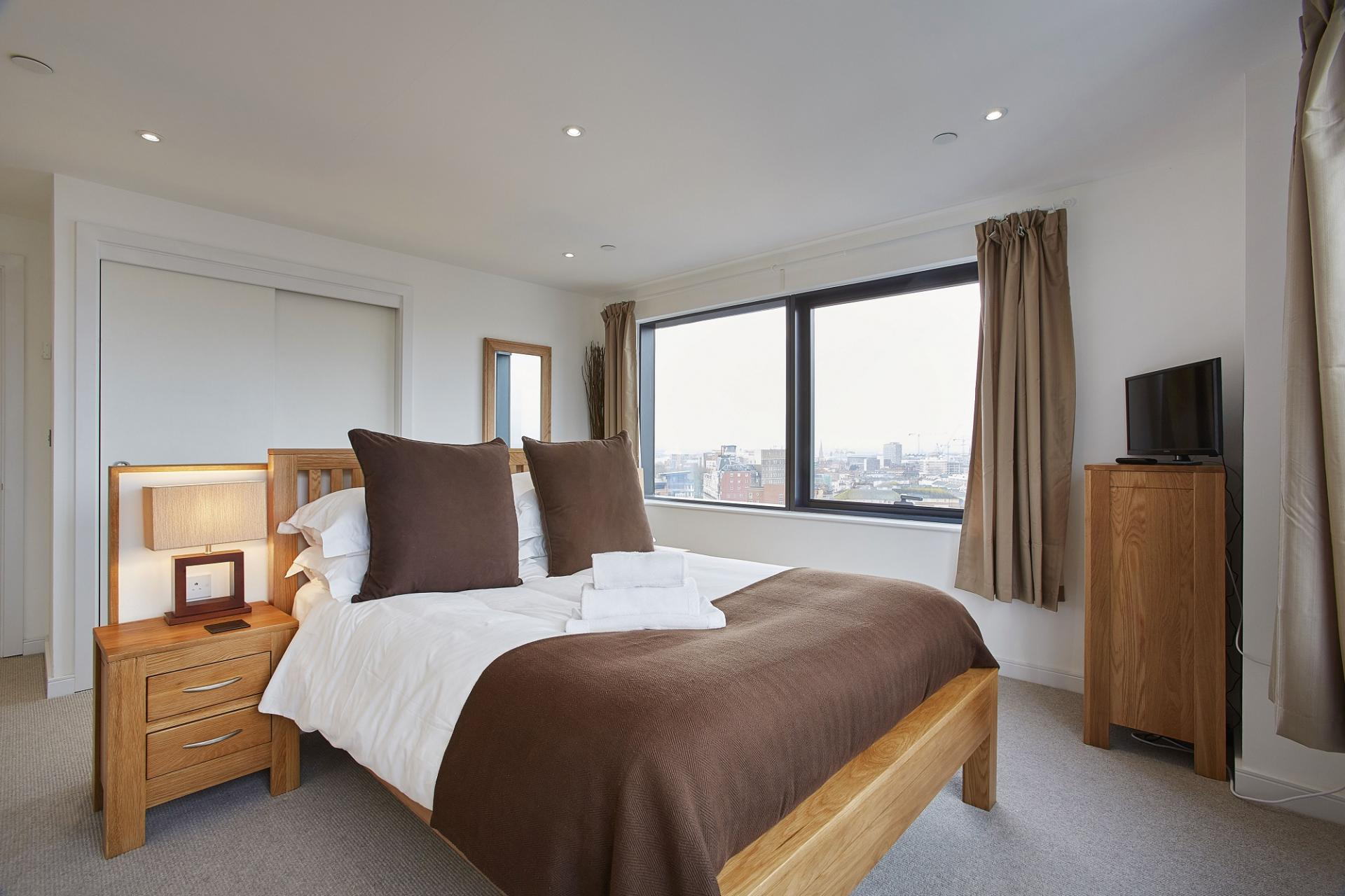 Bedroom at The Hawkins Tower Apartments, Ocean Village, Southampton - Citybase Apartments