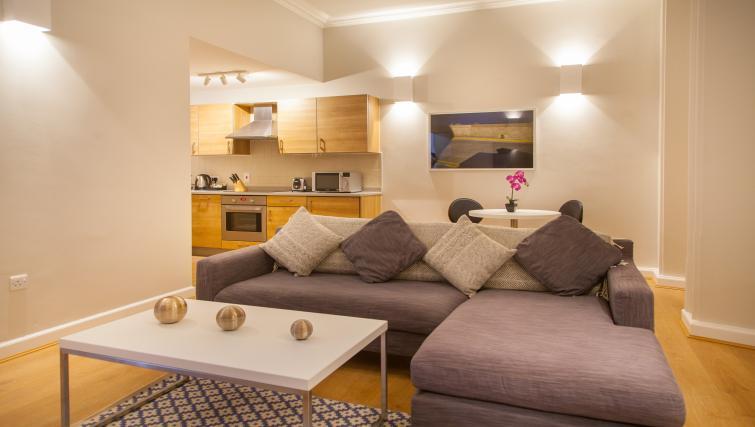 Living/kitchen at Premier Suites Plus Glasgow - Citybase Apartments