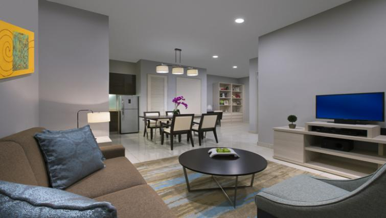 1 bed living area at Somerset Puteri Harbour Apartments - Citybase Apartments