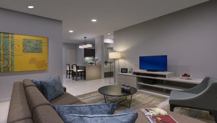 Living room at Somerset Puteri Harbour Apartments - Citybase Apartments