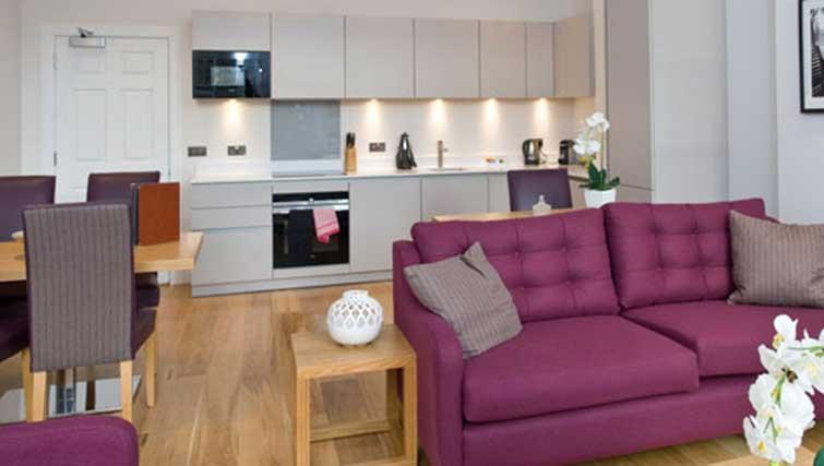 Open-plan living area at Princes Street Residence - Citybase Apartments