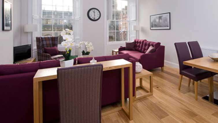 Purple living area at Princes Street Residence - Citybase Apartments