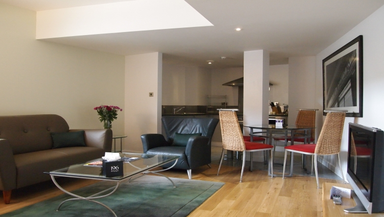 Living/dining area at 196 Bishopsgate Apartments - Citybase Apartments