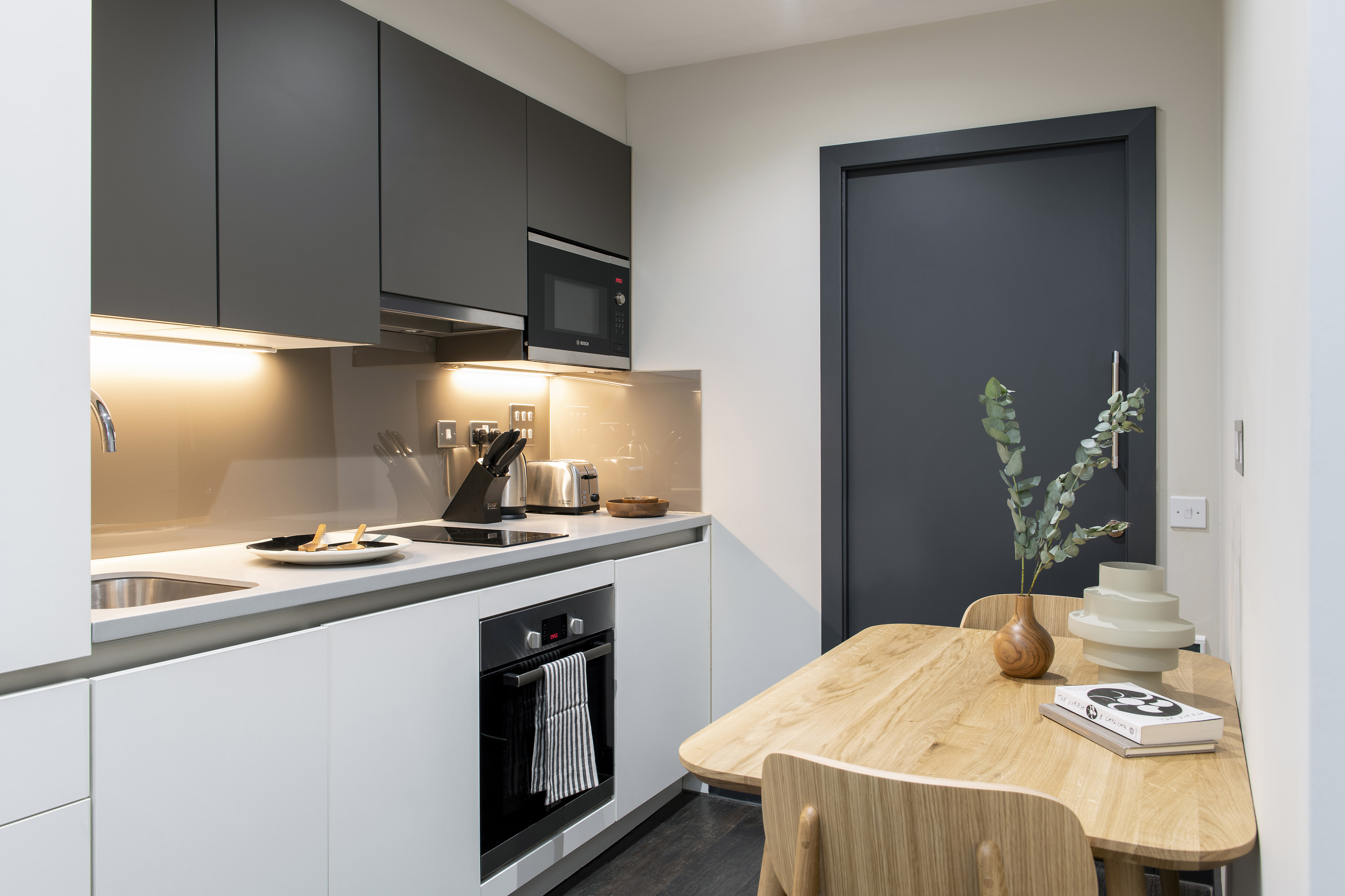 modern kitchen at COVE Cannon Street, Mansion House, London - Citybase Apartments