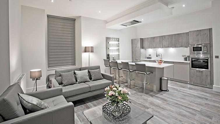 Living area at Apple Apartments Devanha Gardens - Citybase Apartments