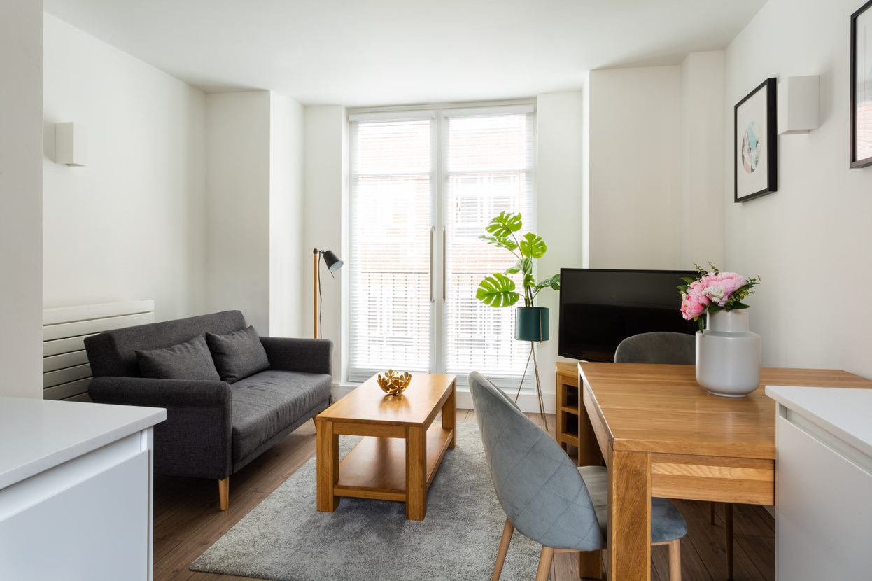 Lounge at Flying Butler Vincent Square Apartments, Victoria, London - Citybase Apartments