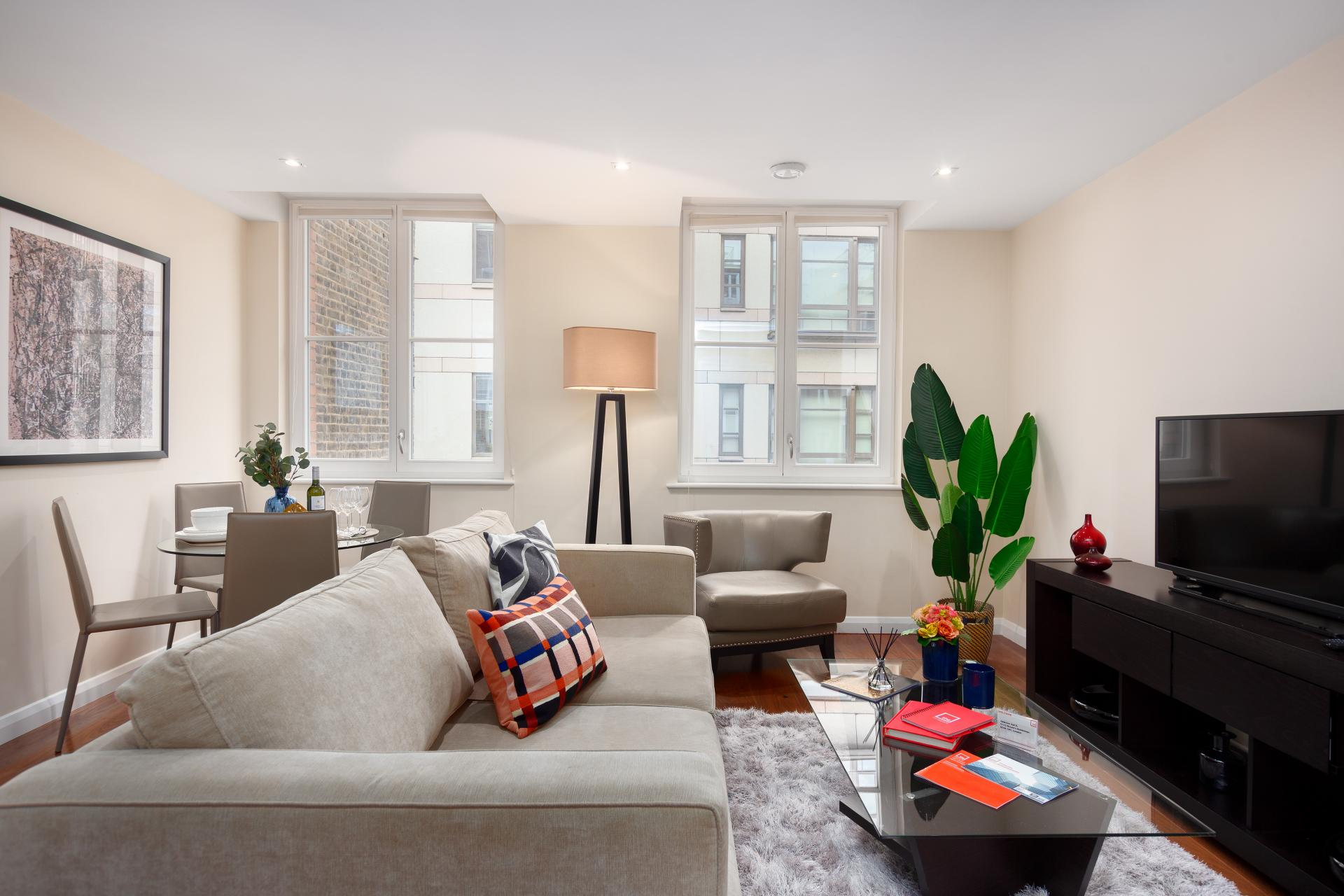 Open-plan layout at Chancery Lane Apartment, Chancery Lane, London - Citybase Apartments