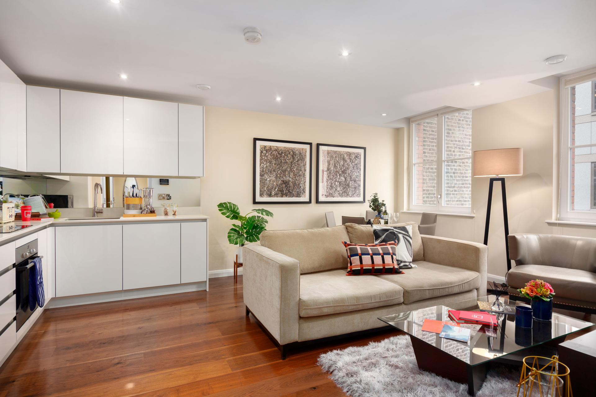 Open-plan living space at Chancery Lane Apartment, Chancery Lane, London - Citybase Apartments