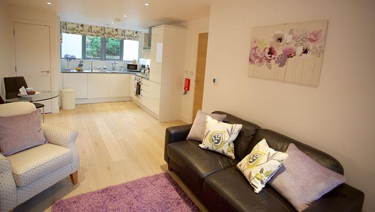 Open-plan living area at Pringle House Apartments - Citybase Apartments