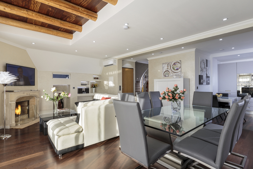 Open-plan living area at Villa Vinicia Apartments - Citybase Apartments