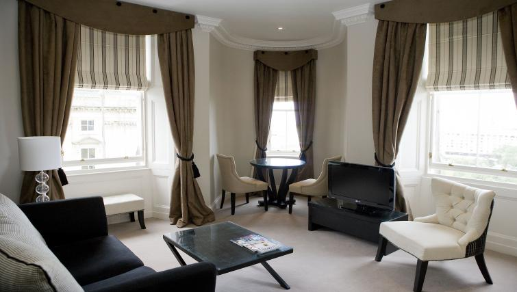 Sophisticated living area at Fraser Suites Edinburgh - Citybase Apartments