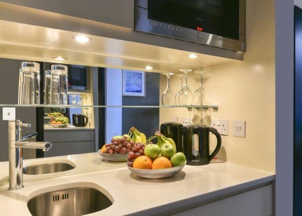 Kitchen facilities at Fraser Suites Edinburgh - Citybase Apartments