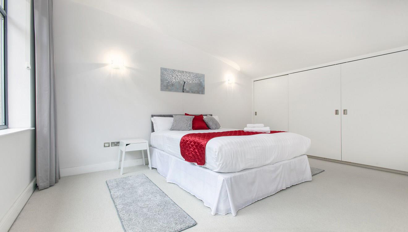 Modern bedroom at Mandela Camden Apartment - Citybase Apartments