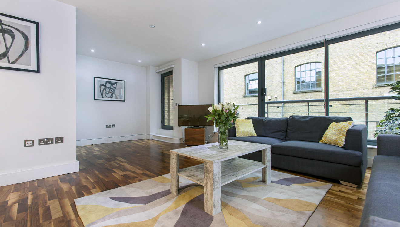 Modern living area at Mandela Camden Apartment - Citybase Apartments