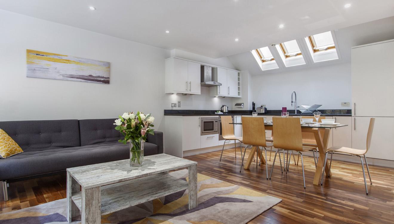 Open-plan living at Mandela Camden Apartment - Citybase Apartments