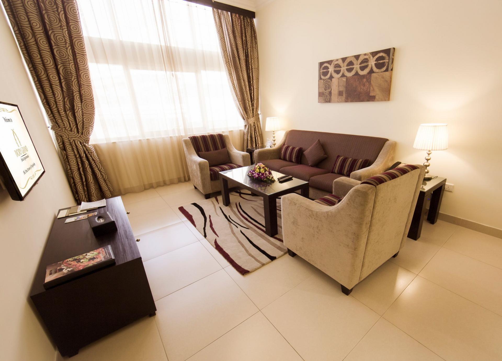 Living Hall at Ivory Grand Hotel Apartments - Citybase Apartments