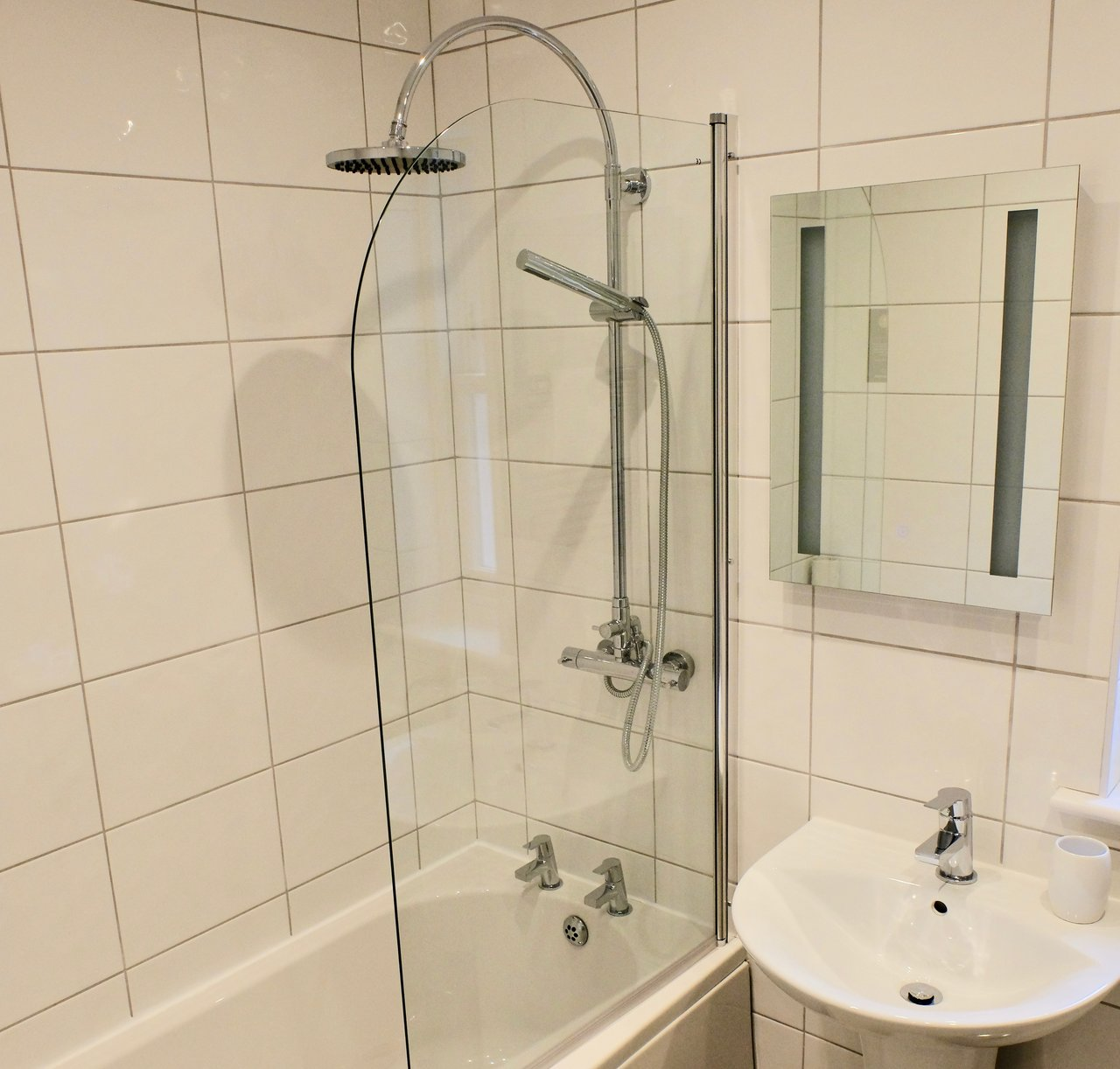 Shower at Skyline House Apartments - Citybase Apartments