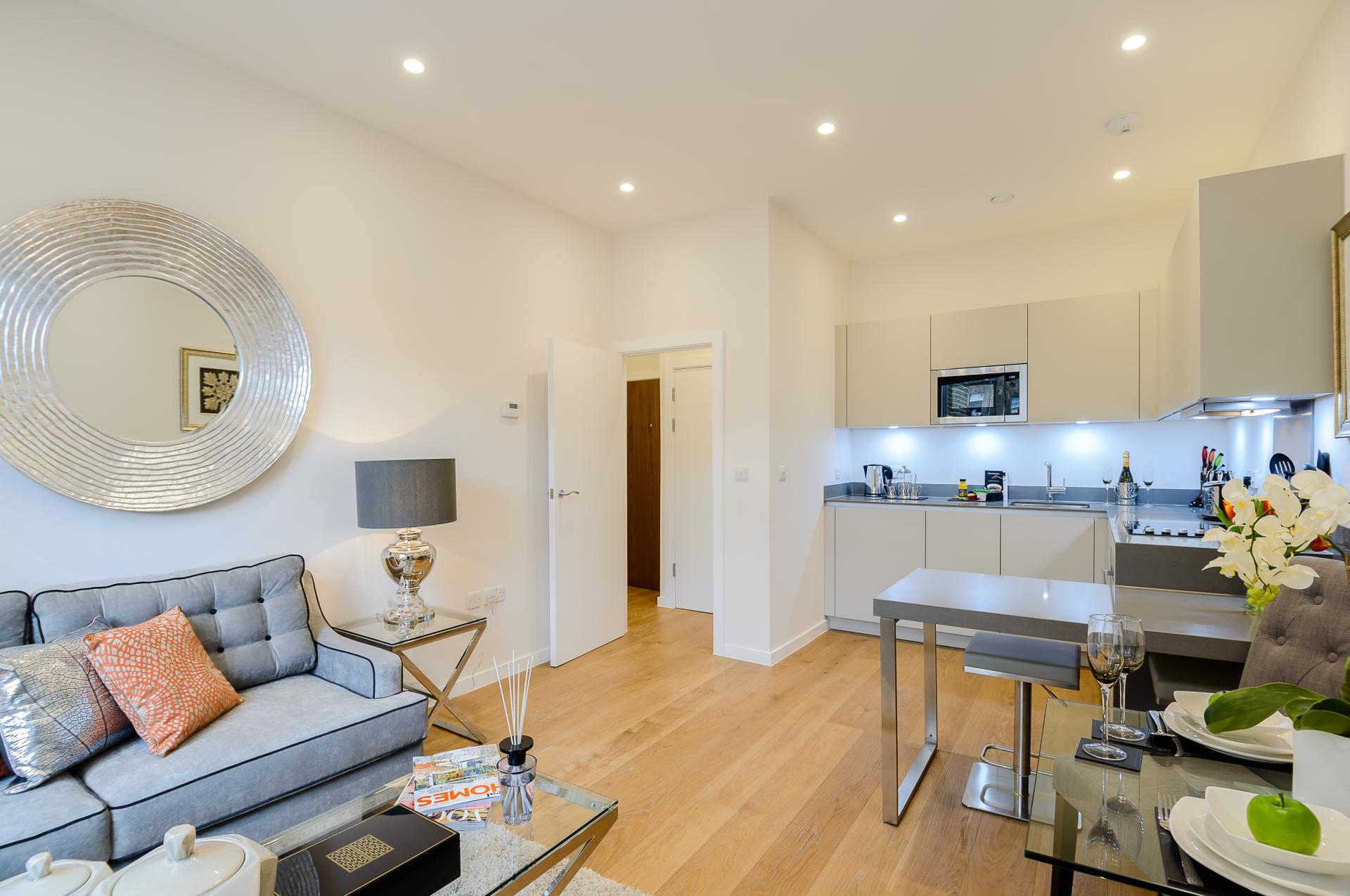 Living room at LAK Serviced Apartments, Gloucester Road, London - Citybase Apartments