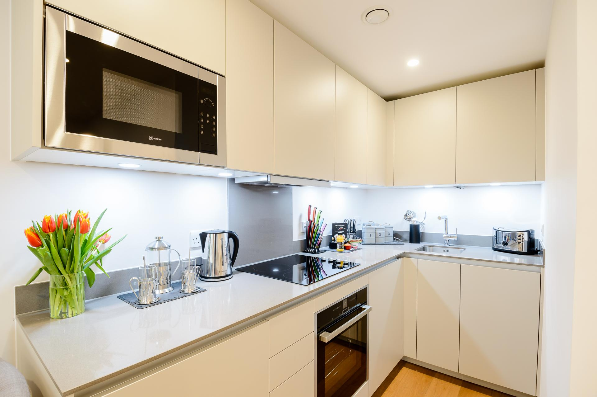 Kitchen at LAK Serviced Apartments, Gloucester Road, London - Citybase Apartments