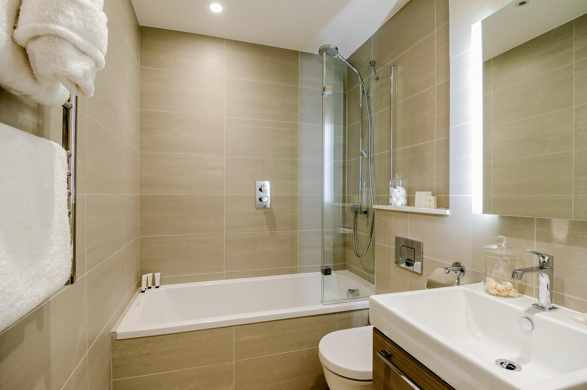 Bathroom at LAK Serviced Apartments, Gloucester Road, London - Citybase Apartments