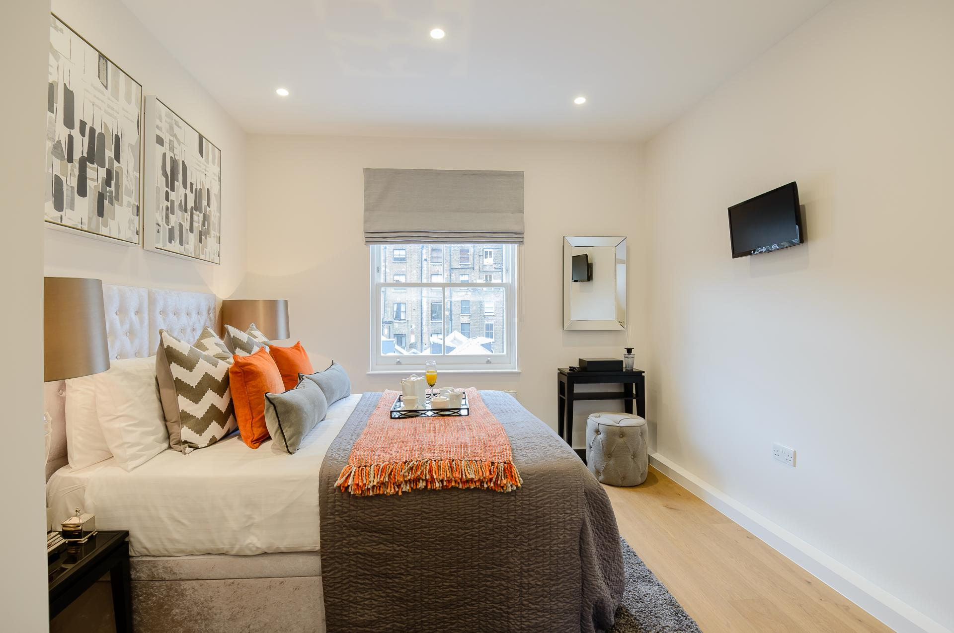 Bed at LAK Serviced Apartments, Gloucester Road, London - Citybase Apartments