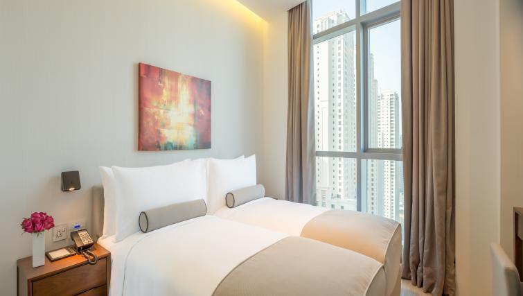 Large windows in bedroom at InterContinental Dubai Marina - Citybase Apartments