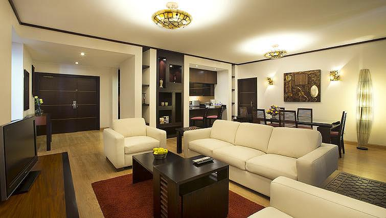 Living area at Park Hotel Apartments - Citybase Apartments