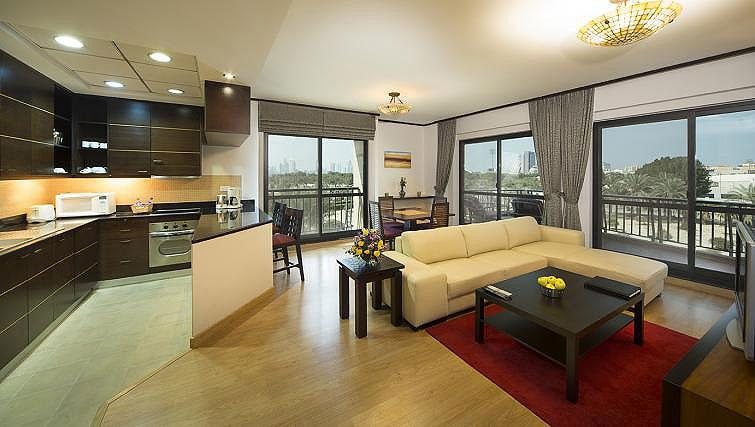 Open plan living area at Park Hotel Apartments - Citybase Apartments