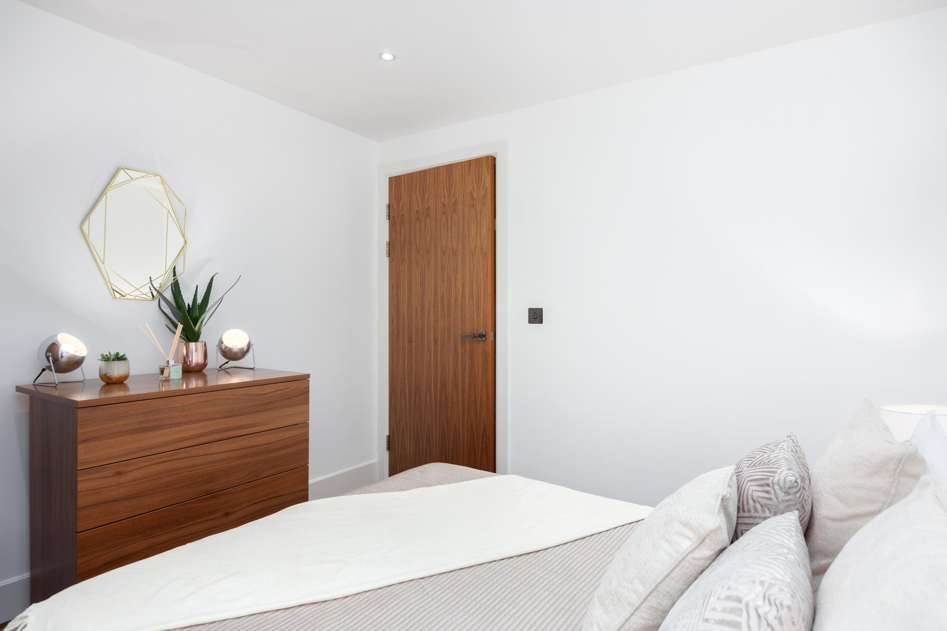 Modern bedroom at One Commercial Street - Citybase Apartments