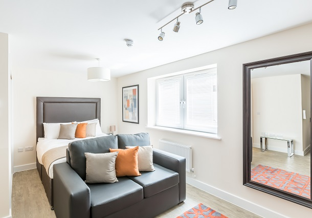 Bright bedroom at Central Gate Apartments - Citybase Apartments