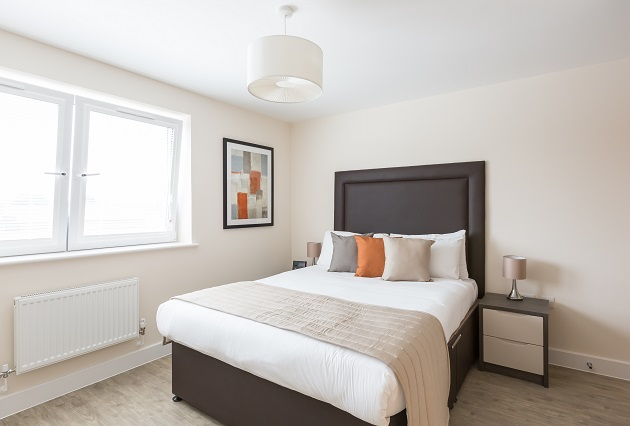 Stylish bedroom at Central Gate Apartments - Citybase Apartments