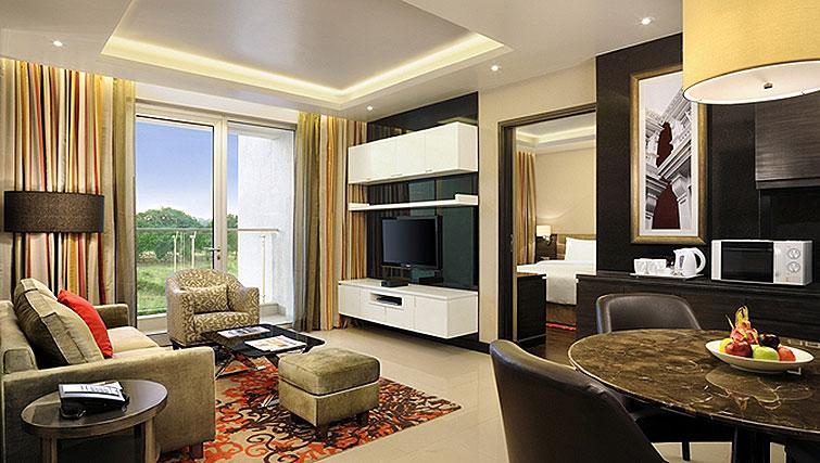 Living area at DoubleTree Suites by Hilton Bangalore - Citybase Apartments