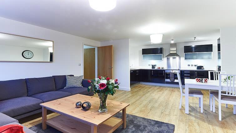 Living area/kitchen at Vizion Milton Keynes Apartments - Citybase Apartments