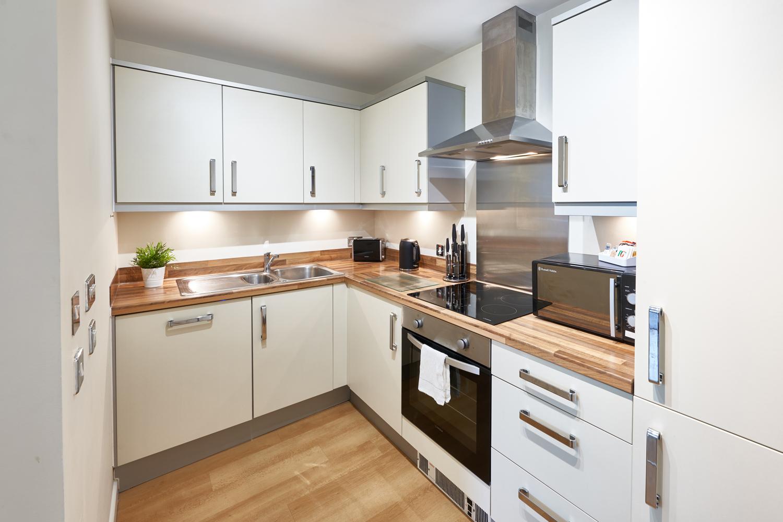 Fully equipped kitchen at The Hub Milton Keynes Apartments, Centre, Milton Keynes - Citybase Apartments