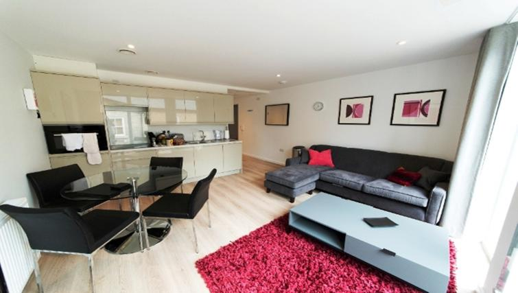 Open-plan living area at Nelson Court Apartments - Citybase Apartments