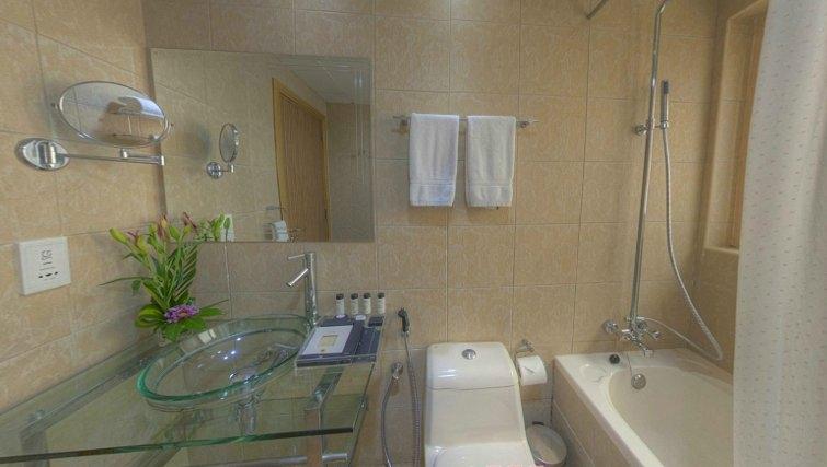 Pristine bathroom at Al Barsha Aparthotel - Citybase Apartments
