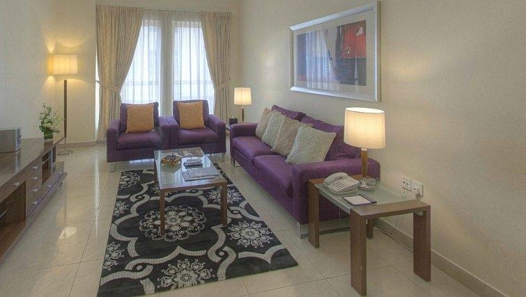 Gorgeous living area at Al Barsha Aparthotel - Citybase Apartments