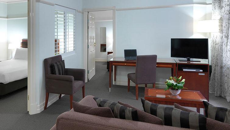 Living area at Adina Apartment Hotel Brisbane Anzac Square - Citybase Apartments