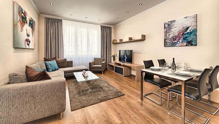 Living area at Konvikt Apartment - Citybase Apartments