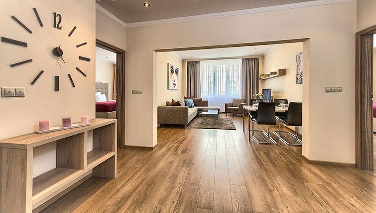Spacious living area at Konvikt Apartment - Citybase Apartments