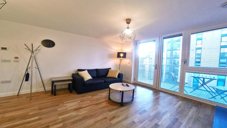 Spacious living area at West Side Apartments - Citybase Apartments