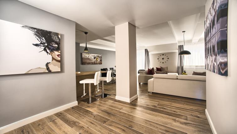 Open plan living room at Art Residence Krocinova - Citybase Apartments