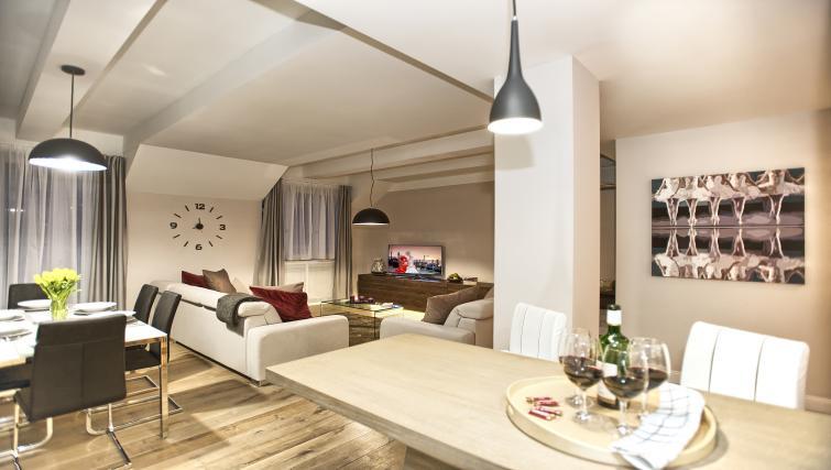 Open plan living area at Art Residence Krocinova - Citybase Apartments