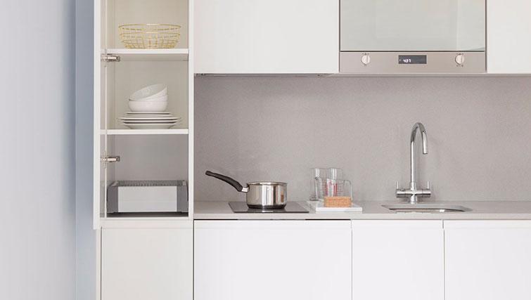 Kitchen at SACO Leman Locke - Aldgate - Citybase Apartments