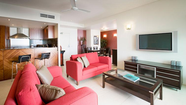 Living room in 3 bed at Mantra Trilogy - Citybase Apartments