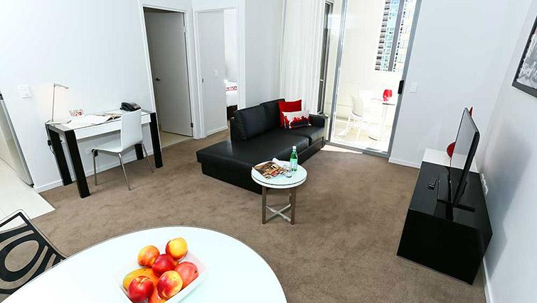 Open plan living space at Mantra Midtown Brisbane Apartments - Citybase Apartments
