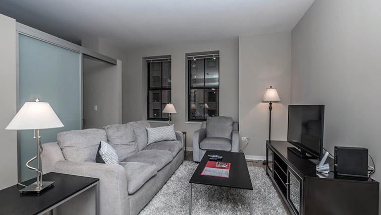Living area at Randolph Tower Apartments - Citybase Apartments