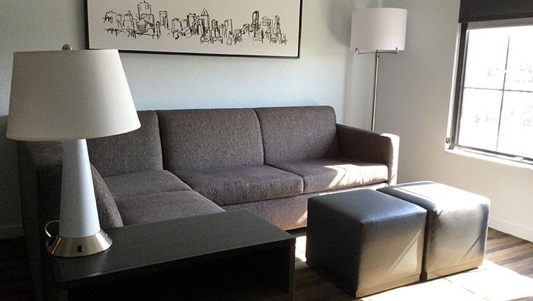 Living area at Hyatt House Boston-Burlington - Citybase Apartments